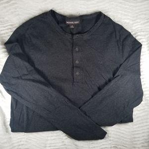 Michael Kors dark grey long sleeve 4 button Tee